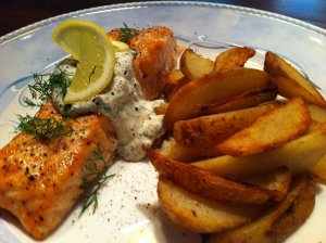 Salmon with Mustard Cream and Pan Roasted Potatoes